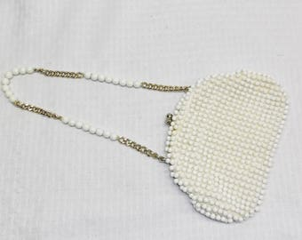 1960s Vintage White Plastic Beaded Purse Handbag by Debbie