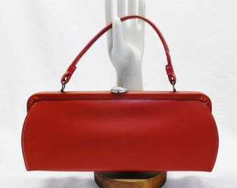 50s 60s Vintage Red Vinyl Handbag Purse
