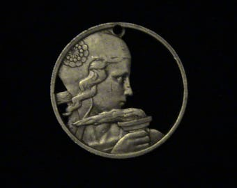 FRANCE - Cut Coin Pendant -  Woman and Torch - 1955