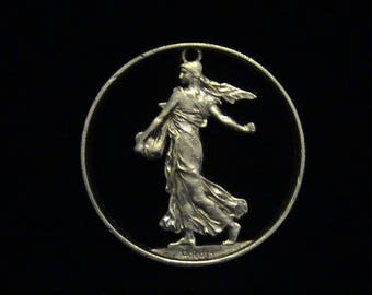 France - cut coin pendant - Lady Liberty Sewing Seeds - SILVER - 1962
