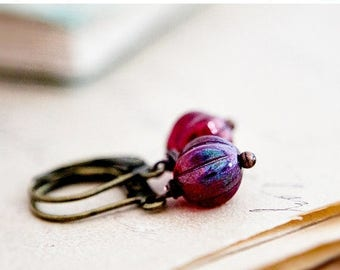 Cranberry Earrings, Glass Earrings, Drop Earrings, Czech Glass, Brass Earrings, Dangle Earrings, Red Glass, Christmas Gift, Stocking Stuffe