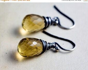 Citrine Earrings, Drop Earrings, Dangle Earrings, November Birthstone, Golden Quartz, Sterling Silver, Wire Wrapped, PoleStar, Yellow