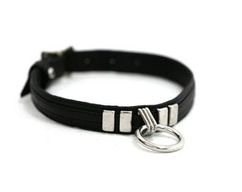 THIN LINE Between Love and Hate Metal O Ring Leather Choker Collar and Double Cuff