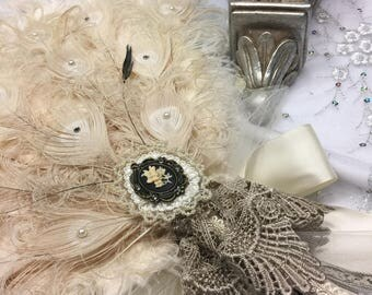 Vintage Ivory Curled Peacock and Ostrich feather fan bouquet with exquisite Pearl, Crystal and Lace details - Only One IN STOCK
