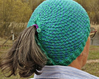 Knitted adjustable ponytail beanie with button closure and fish scale pattern