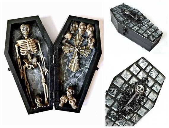 Skeleton Decor, Black and Silver Coffin, Skeleton Halloween Decor, Catacomb, Black Wood Coffin Skeleton, Day of the Dead, Dia de los Muertos