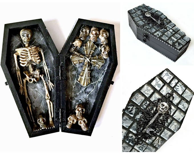 Skeleton Decor, Black and Silver Coffin, Skeleton Halloween Decor, Catacomb, Black Wood Coffin Skeleton, Day of the Dead, Dia de los Muertos