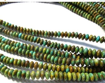SALE 20% Off Natural  Zuni Turquoise Rondelle Beads,  6mm Nevada Turquoise Saucer Rondelle Beads,