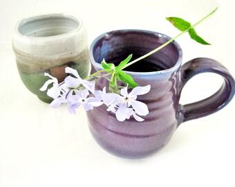 16 oz Purple mug, large handmade stoneware mug, purple mug, gift for her - In stock