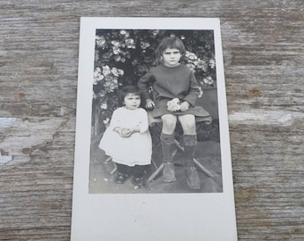 Vintage Antique 1920/20s French real photography postcard  girls /sisters