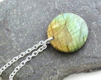 Amber & Green Labradorite Necklace, Natural Jewelry, Round Stone Pendant, Rustic Jewelry