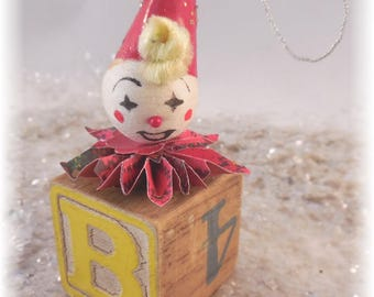 Vintage block with clown Christmas ornament