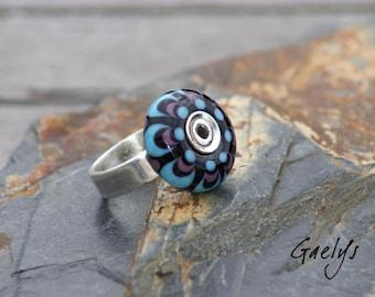 Clown - Bague verre noir / violet / turquoise anneau argent martelé - Gaelys