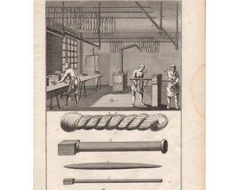 French antique Diderot print, 1772, Gobelins tapestry factory