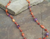 Autumn Dreaming I - Carnelian, Amethyst & Copper Necklace