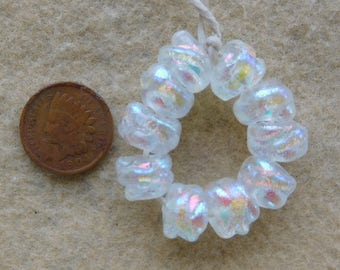 10 Pastel Pink Mini Baroque Dichroic Lampwork Beads by Dee Howl Beads
