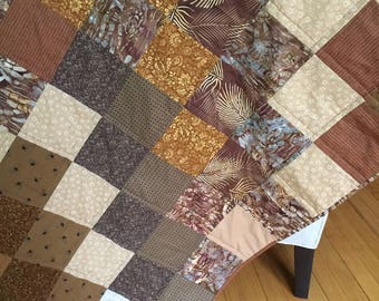 Browns Handmade one of a kind Quilted Cotton Throw