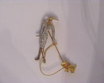 Lady with Reinstones and Scottie Dog Brooch Pin