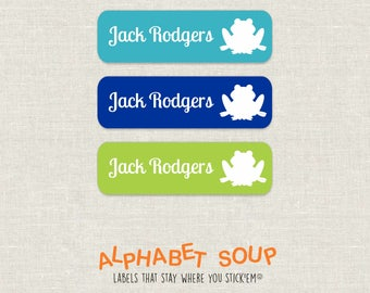 72 personalized dishwasher safe frog labels | choose colors and fonts | microwave safe and waterproof