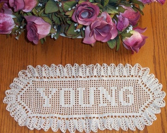 Crochet  Name Doily Unlimited Letters Great Wedding Gift   Heirloom Made in the USA