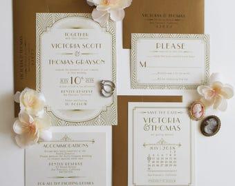 art deco wedding invitation great gatsby invitation gold invitation roaring 20s art - Gatsby Wedding Invitations