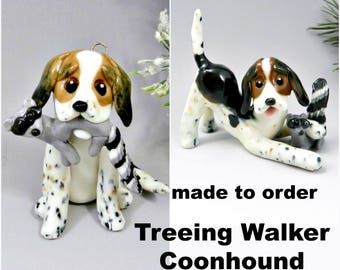 Treeing Walker Coonhound Dog Made to Order Christmas Ornament Figurine in Porcelain