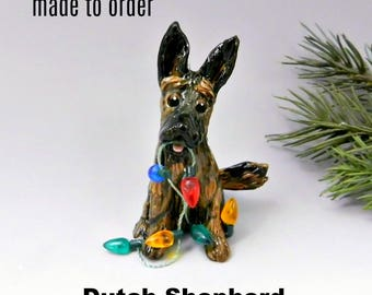 Dutch Shepherd Made to Order Christmas Ornament Figurine in Porcelain
