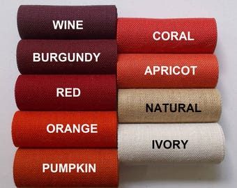 18 inch BURGUNDY Red CORAL Orange or IVORY Burlap  -  3  yards