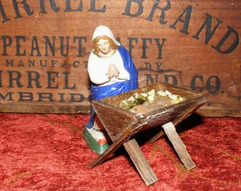 Antique German Composition Mary Wood Manger and Wax Baby Jesus Christmas Nativity Figures marked Germany