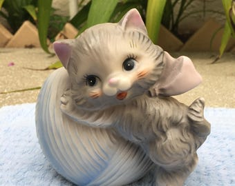 Vintage Cat with Ball of String Planter