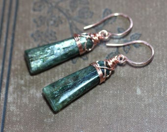 Kyanite Earrings Forest Dark Green Earrings Copper Wire Wrapped Gemstone Earrings Rustic Jewelry