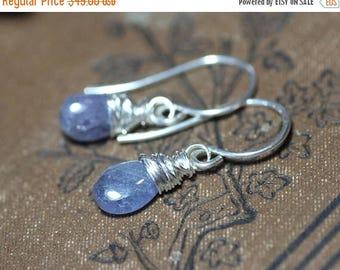 SALE Tanzanite Earrings Violet Blue Earrings Sterling Silver Wire Wrapped Gemstone Jewelry Purple Earrings
