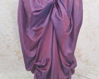 "SALE Dark Pink Shot Mini Dot Steampunk Bustle Skirt-To Fit 24-46"" Waist"