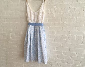 Tea dress {lacey blu } size 8-10