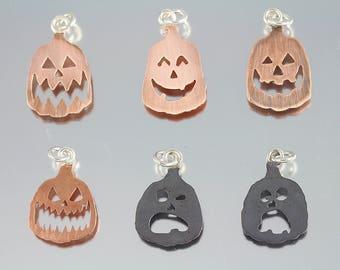 Halloween Carved Jack O Lantern Pumpkin Pendants and Adjustable Ring Jewelry