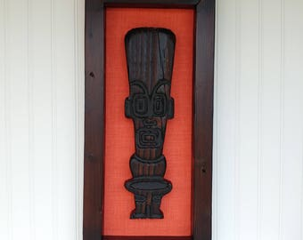 Tropics Tiki Framed Art - Coral - Carving Witco Retro Bar Room Decor