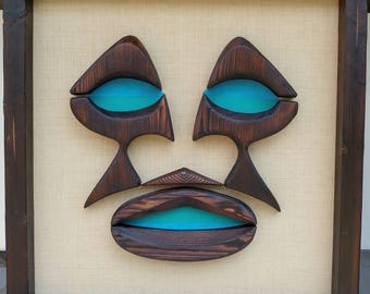 Ale Ale Kai Tiki Face Art Mid Century Modern MCM Abstract Hawaii Hawaiian Bar