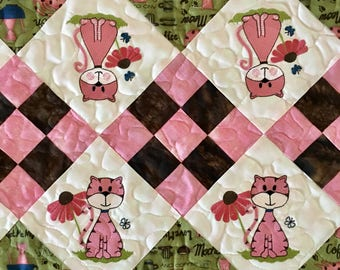 CATS and COFFEE Quilted Table Runner . . . Embroidered  Punk Cats . . . CoffeeAccent Fabric . . . Table Decor