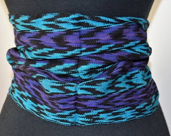 Vintage Cornucopia Deadstock Ethnic Guatamalan Textile Sash Belt. Electric blue and purple. Fringed extra wide sash long. versatile.