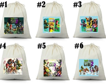 12 Plants vs Zombies Garden Warfare 2 Birthday Party Favor Candy Loot Treat Drawstring Bags