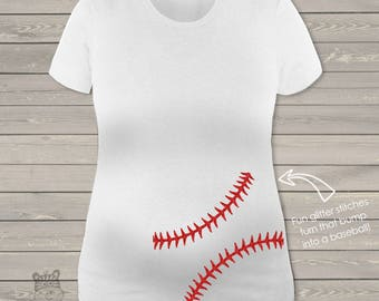 Sparkly baseball maternity shirt glitter belly custom womens non-maternity or maternity shirt - fun pregnancy announcement shirt