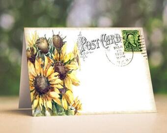Wedding Place Cards Sunflower Postcard Tent Style Place Cards or Table Place Cards #57