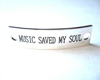 Inspirational Connector Link Plate for Making DIY Bracelets Music Saved My Soul Silver Color