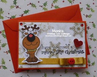 Have Yourself a Merry Little Christmas - Handmade blank greeting card with reindeer