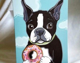 Boston Terrier Donut Greeting Card