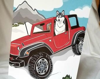 Offroad Siberian Husky Greeting Card