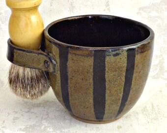 Shaving Mug in Brown with Black Stripes