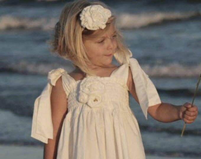 White Flower Girl Dress - Beach Wedding - Rustic Wedding - Full Length Dress - Maxi Dress - Toddler Dress - Ruffle Dress - 12 months to 2T