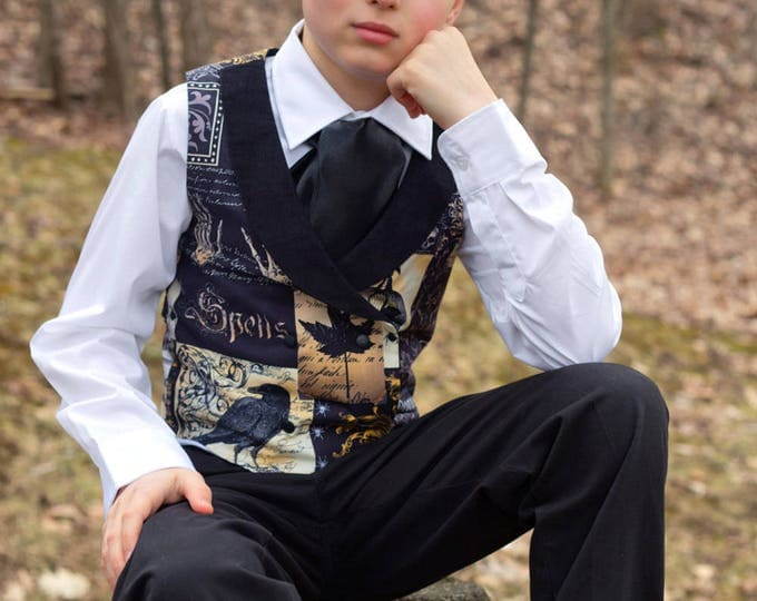 Steampunk Clothes - Double Breasted Vest - Boys Holidays - Ring Bearer - Edgar Allen Poe - Steampunk Wedding - Toddler - 2T to Adult