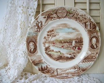 Brown Transferware  Plate with Color Johnson Bros. England, Meier & Frank Co., Brown Transfer Ware with Color Dinner Plate Historical Plate